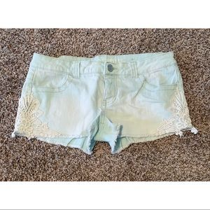 MOSSIMO DENIM SHORTS WITH LACE DETAIL